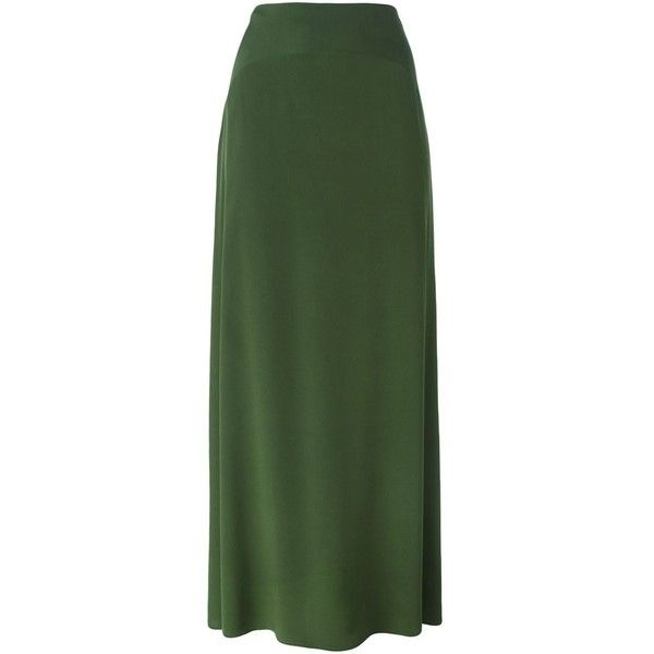 Kenzo A-Line Maxi Skirt ($362) ❤ liked on Polyvore featuring skirts, green, a line maxi skirt, long skirts, long green skirt, silk skirt and elastic waist maxi skirt