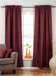 Dark Maroon Rod Pocket Matka Raw Silk Curtain / Drape / Panel - Piece