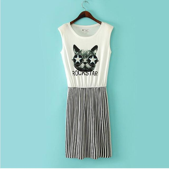 Fashion Womens Vertical Stripe Splice Cat Print Sleeveless Cocktail Mini Dress | eBay