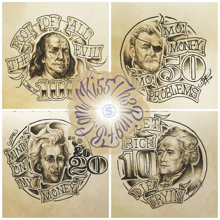 money presidents banner drawing sketch illustration tattoo flash art. Black Bedroom Furniture Sets. Home Design Ideas