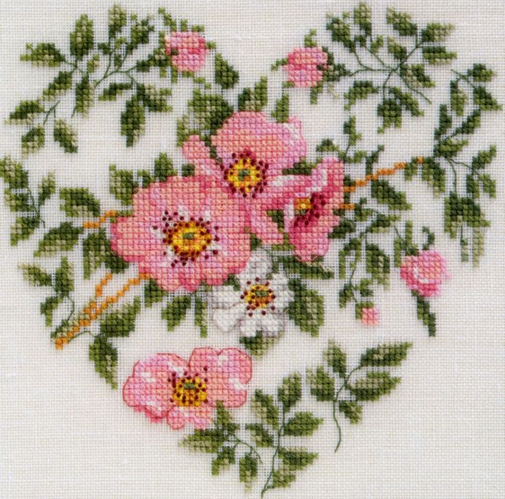 france heart roses punto croce 1/3