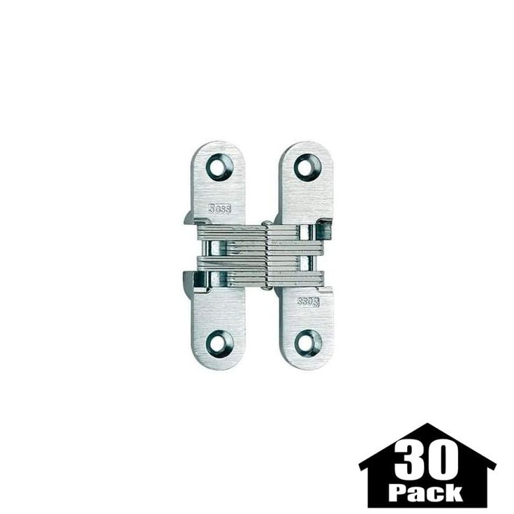 "Soss 208-30PACK 2-3/4"" High Invisible Hinge for Medium Duty - 30 Pack Satin Brass Cabinet Hinges Inset Hinges Invisible Hinges"