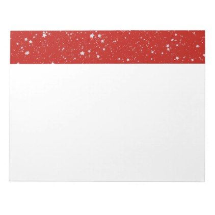 Glitter Stars - Silver Red Notepad - home gifts ideas decor special unique custom individual customized individualized
