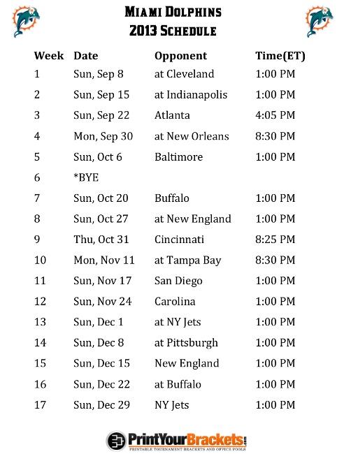 Printable Miami Dolphins Schedule - 2013 Football Season