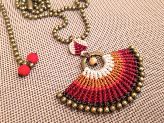 BORDEAUX . Macrame Pendant Necklace . brown by RitaPratesCaetano