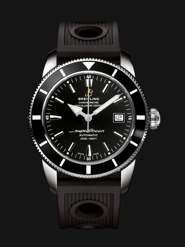 Superocean Héritage 42 watch by Breitling - stainless steel case, black bezel and dial and black rubber strap