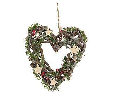 Рождественский венок на дверь  - дерево - зеленый, 30х32 см