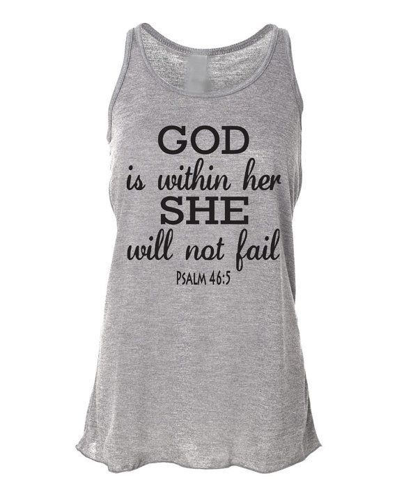 Running Tank Top Psalm 46:5 God Is Within Her. Workout Tank Top. Bella. Christian Clothing. Running Shirt. Marathon. Faith. Bible Verse. on Etsy, $23.95