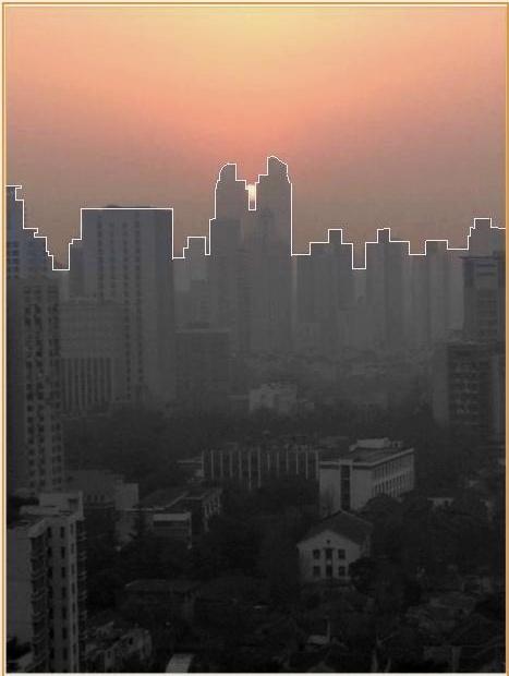 Sunset in Shanghai, Xmas Eve 2012, towards Xujiahui Skyline.