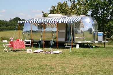 Galmping in an airstream RV caravan with Happy Days in Dorset