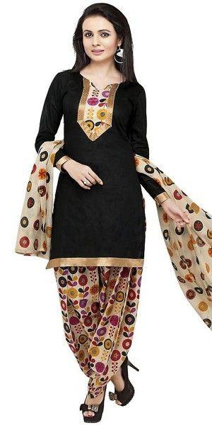 Boldly Black Cotton Salwar Suit With Dupatta.
