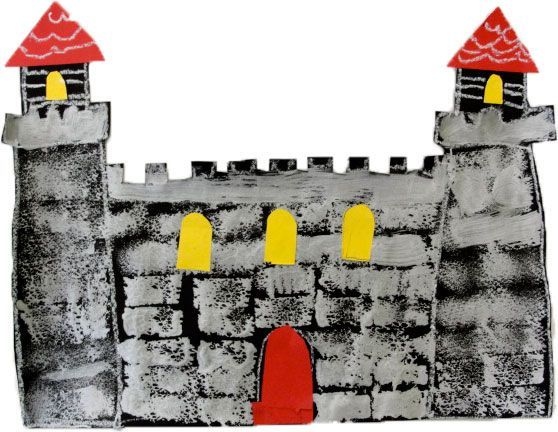 Draw castle on black paper with white pencil.  Sponge on bricks.  Add details with paper.