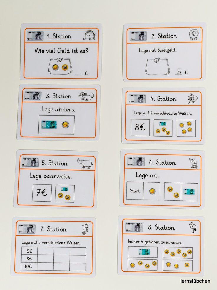 hier eine Vorschau auf die Stationskarten zum Geld im ZR bis 10 € Im Laufe des Tages werde ich das Material und einen Arbeitspla…