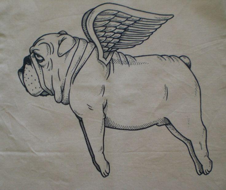 Flying Bulldog Canvas Shopping Tote Bag. $10.00, via Etsy.