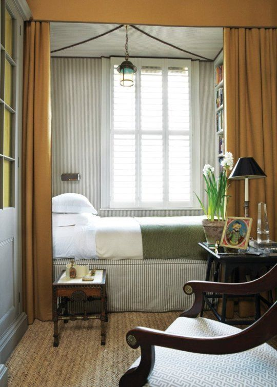 bed skirt idea from... Ideas to Steal from The Narrowest of Bedrooms
