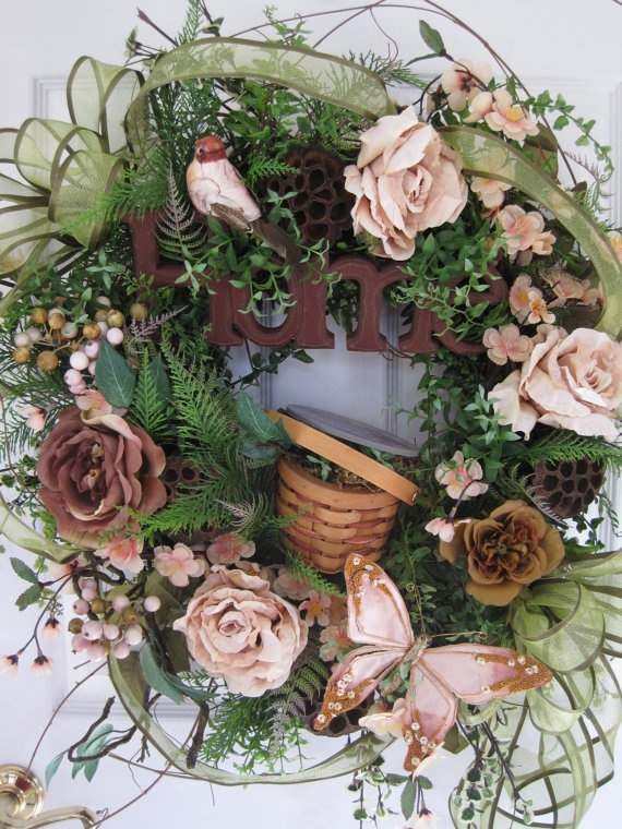 HOME Spring GARDEN Inspired Four Season Wreath by funflorals, $150.00