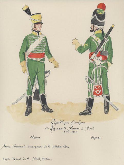 Republique Cisalpine; 1e Rgt,de Chasseurs a Cheval. chasseur, sapeur. 1803.