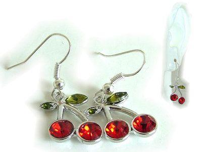 Kersen oorbellen hangers met groene en rode strass steentjes   /Afmeting kersen…