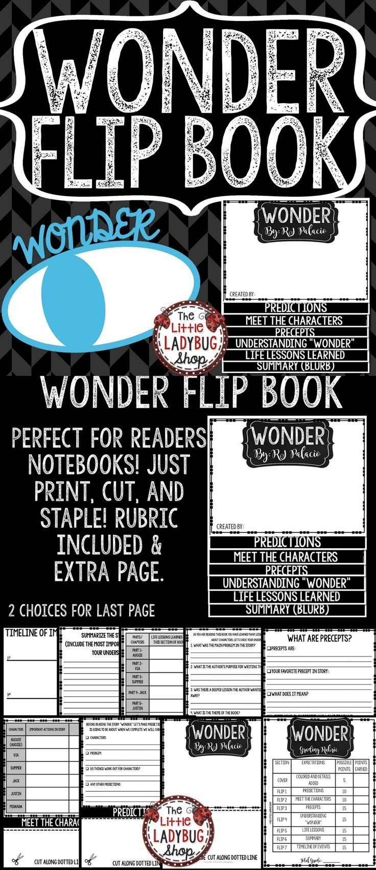 "You will LOVE this ""Wonder"" Novel Study Flip Book! It is the perfect tool to use as you read this fascinating novel with your students will love!! This flip book is a great companion as your monitor your students comprehension of the novel."