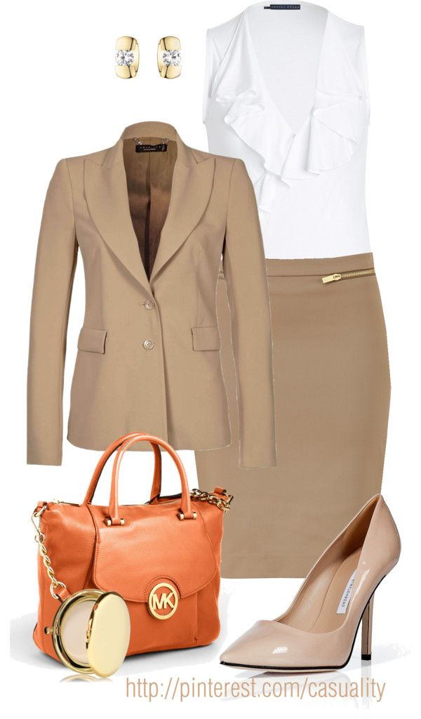 """Chic Professional Woman Work Outfit. """"Business Class & Orange Mk"""" by casuality on Polyvore"""