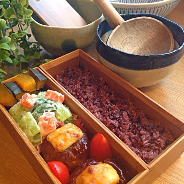 昨日のお弁当「葱豚柚子胡椒焼き」煮付け使用した豚コマ肉の半分をフープロでミンチしてハンバーグになりました (^O^)♪♪♪♪皆様今日もお元気に過ごしてくださ〜い\(^o^)/ - 78件のもぐもぐ - ⚫︎豚コマ肉のチーズハンバーグ⚫︎チンゲン菜と人参のクリーム煮⚫︎カボチャの煮付け⚫︎黒米ご飯 by obentocafe
