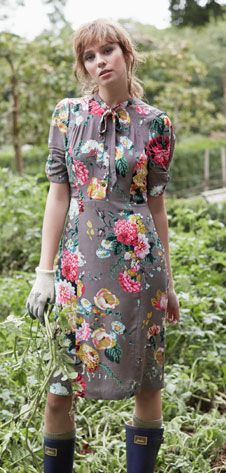 Um, this is what I wish for my daily life.  One of my dresses, hunters and greenery.  Joules floral dress. Repinned by www.grownupgrace.com