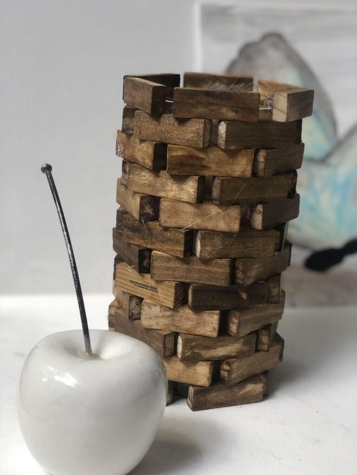Dollar Tree Jenga Blocks Lamp DIY · Just That Perfect