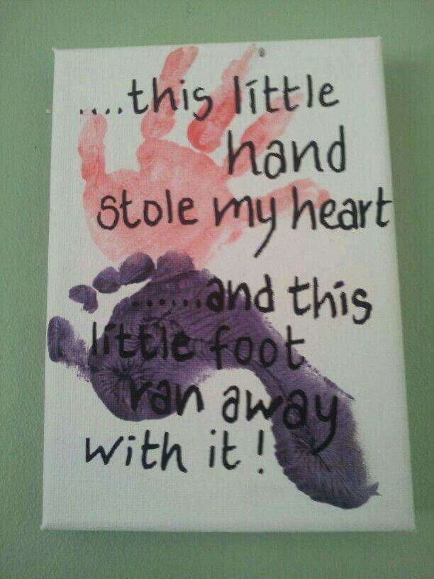 Hand/foot print gift for parents, mom or dad, or even grandparents. Super cute handprint & footprint keepsake art.