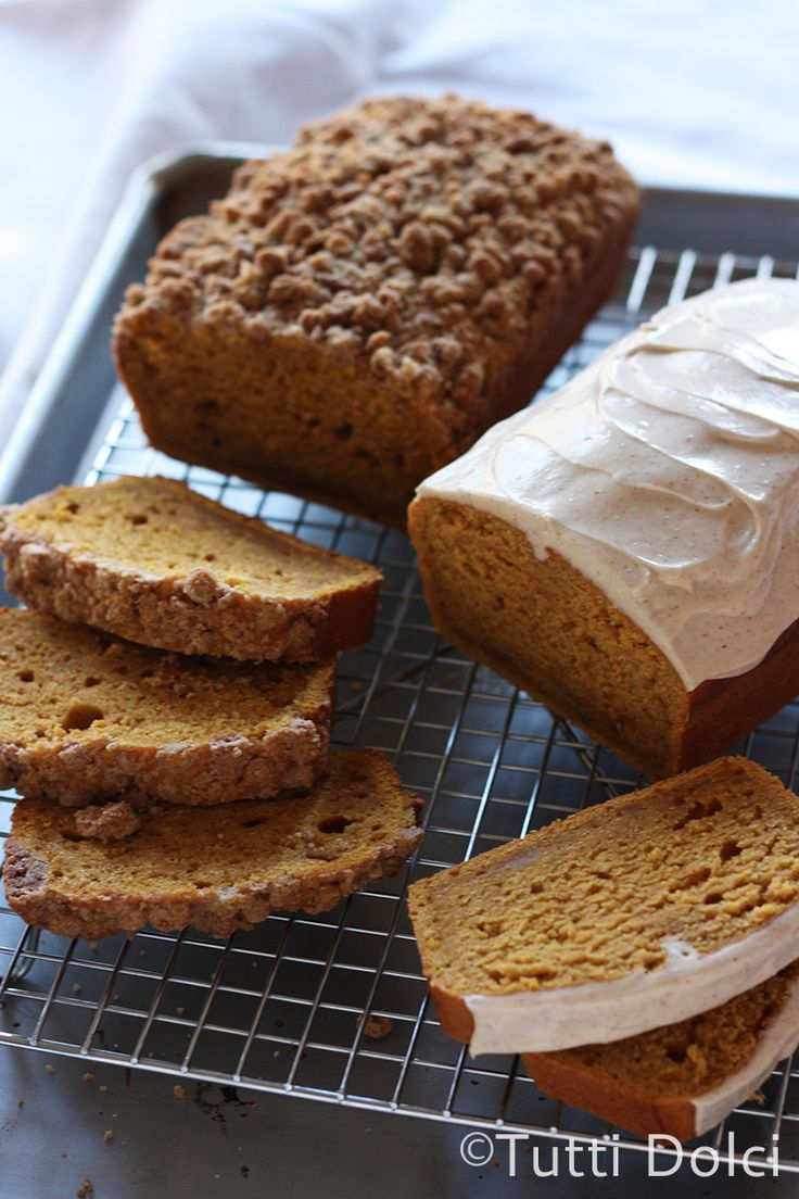 Pumpkin Pound Cake with Crumb Topping or Cream Cheese Glaze!