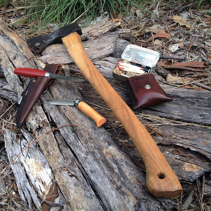 Bushcraft essentials. Fixed blade, folder, axe and fire kit. Leather optional…
