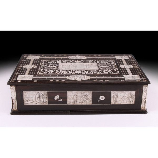1594-1602 Neapolitan Ivory Inlaid writing slope, of ebony construction inland with panels of engraved ivory, the right hand side opening to a fitted drawer with compartments for ink, sand and quills. Attributed To Iacopo Fiamengo
