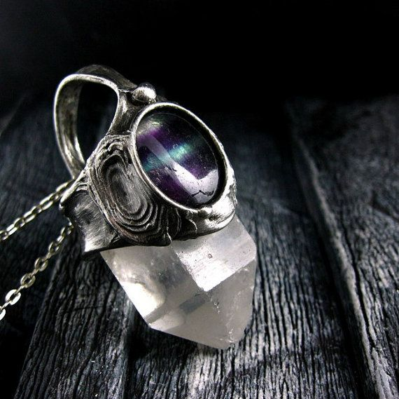 Rainbow Fluorite & Raw Crystal necklace by AMW #crystal #crystalnecklace #crystaljewelry #jewelry #jewellery #stones #gemstone #sterlingsilver #amethystnecklace #silverjewelry #handmade #beautiful #design #bohemian #etsy #style #fashion #hippie #boho #necklace #pendant #amwgallery