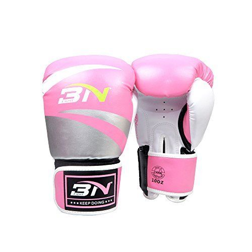 BN Pro Boxing Training Sparring Gloves For Women-- With Punching Holes Muay Thai Pink 10oz