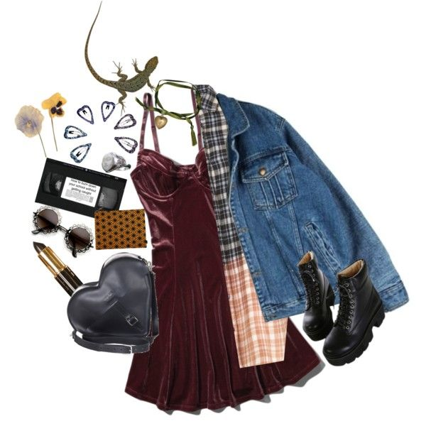 break down by lasagnas on Polyvore featuring Abercrombie & Fitch, Dr. Martens, Remington, denimjacket, velvet, flannel and combatboots