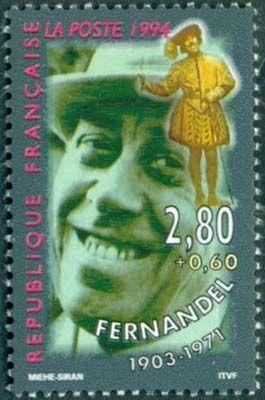 В 1994 году Почтовая служба Франции выпустила серию «Звезды театра и изображен Фернандель (1903 – 1971) – французский актёр, один из величайших комиков театра и кино Франции и Италии. кино»