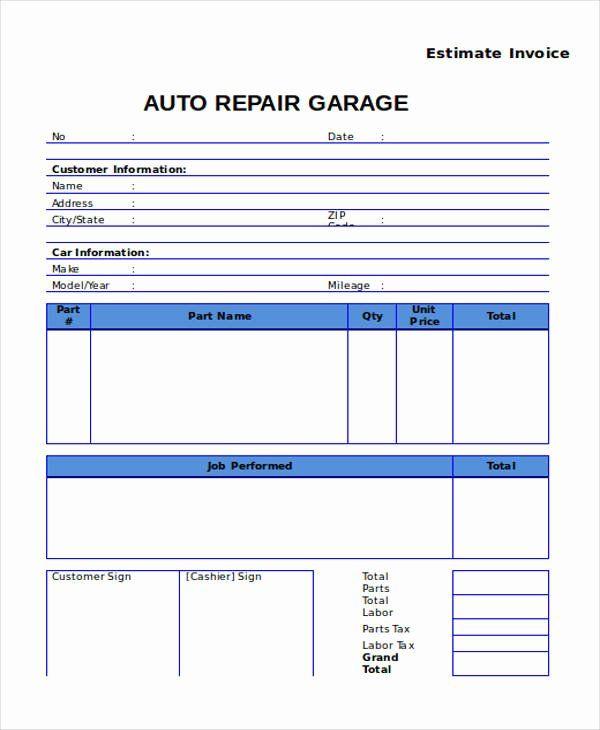 Automotive Repair Invoice Template Beautiful 9 Auto Repair Invoice Templates Free Word Pdf Excel Invoice Template Auto Repair Estimates Estimate Template