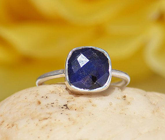 Faceted genuine natural Blue Sapphire sterling silver cushion square shape stacking bezel set ring - September Birthstone Ring on Etsy, $42.99