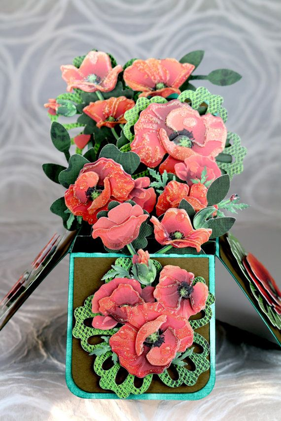 Thanksgiving, Fall, Harvest, Autumn, Hostess Gift, Carnival Papaver orientale, Oriental Poppy, Pop Up Greeting Card, flower bouquet