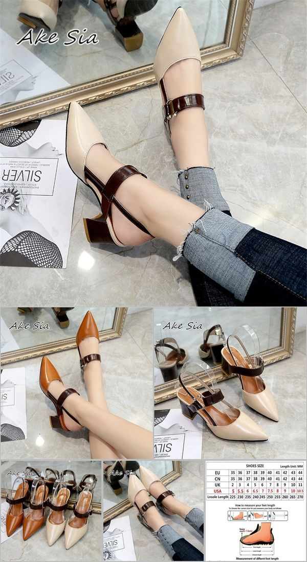 b827b2c650c 2019 spring hollow coarse sandals high-heeled shallow mouth pointed pumps  shoes women Female sexy high heels large size mujer