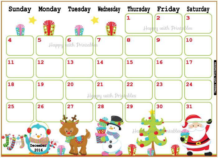 Printable Calendar December 2016 - December planner - DIY ...