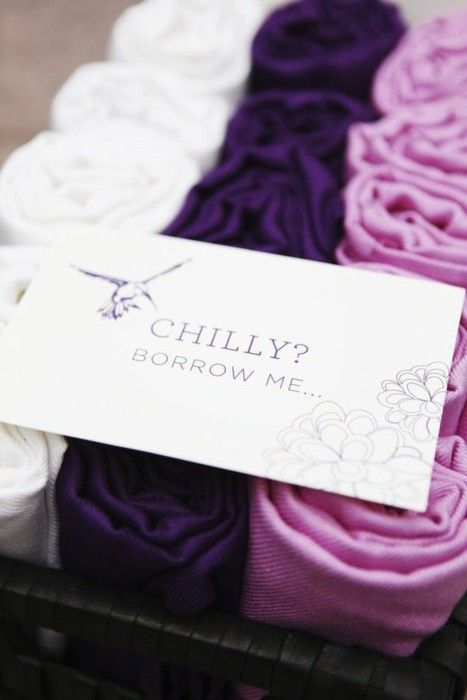 Pashminas to include for an outdoor reception that may turn chilly after the sun goes down