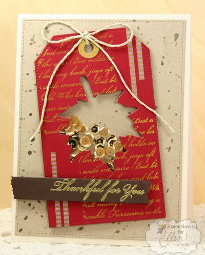 Leaf Shaker Card by @sharon_harnist for Ellen Hutson LLC. This project uses products from My Favorite Things and Pretty Pink Posh. #ellenhutsonllc #ellenhutsonllcblog
