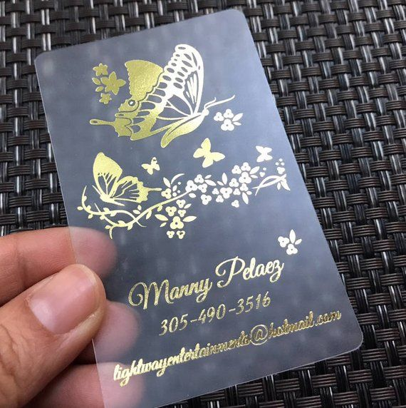 200 Business Cards Frosted Plastic Stock Gold Or Silver Metallic Foil Recyclable Opaque Eco Friendly Clear Translucent See Through Custom Business Cards Free Printable Stationery Cards