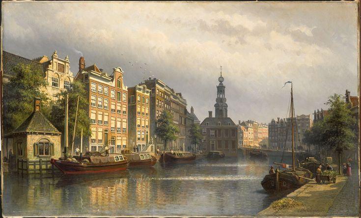 Het Singel te Amsterdam naar de Munt gezien door  Eduard Alexander Hilverdink, 1886