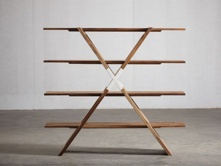 Walnut shelving unit X by Artisan   design Gabriella Bellon