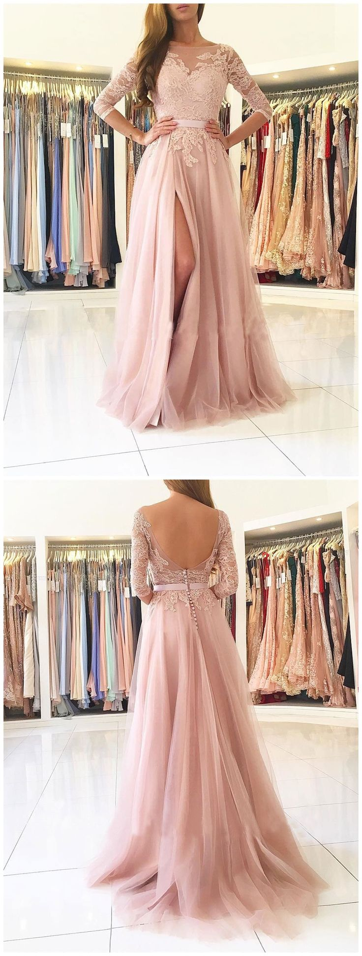 Sexy Split Blush Pink Long Sleeve Lace Evening Prom Dresses, Sexy Party Prom Dresses, Custom Long Prom Dresses, Cheap Formal Prom Dresses, 17141