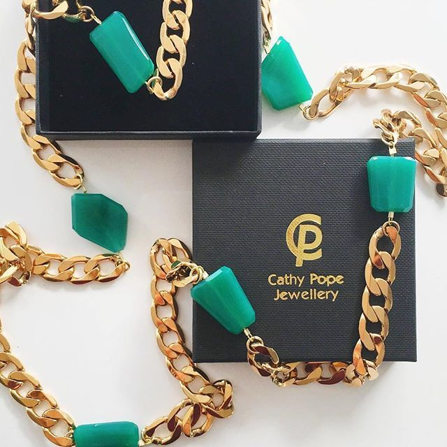 It is such an awesome day when custom made Cathy Pope Jewellery arrives on your doorstep! Thank you Cathy, I LOVE it, the green is just so me and the long length is so glam.