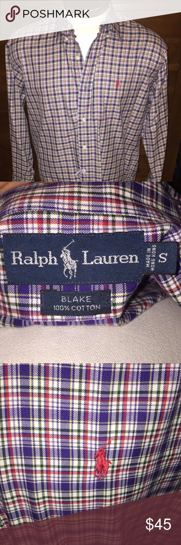 """NWOT Men's Ralph Lauren """"Blake"""" Button Down - S You are looking at a NWOT Men's Ralph Lauren """"Blake"""" style Button Down Shirt in size Small. """"Blake"""" style means it's a very quality thickness, not too thick but you can feel it's not a cheap thin cotton. The color is a Purple, Green, and Red pattern. This is a very soft and very stylish shirt that can be worn year-round! This shirt has just been dry cleaned (the tag can be seen in the pic) If you have any questions please feel free to let me…"""