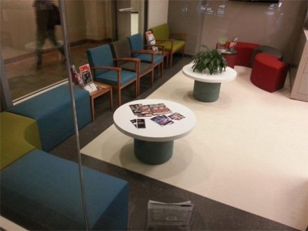Fun and colorful waiting room at the University of Calgary with Bahia and Element seating and tables from Artopex.
