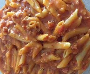 Pâtes tomate chorizo jambon(façon one pot pasta) par lagadibleu - recette de la catégorie Pâtes & Riz